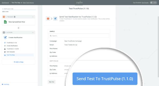 Send Test to TrustPulse