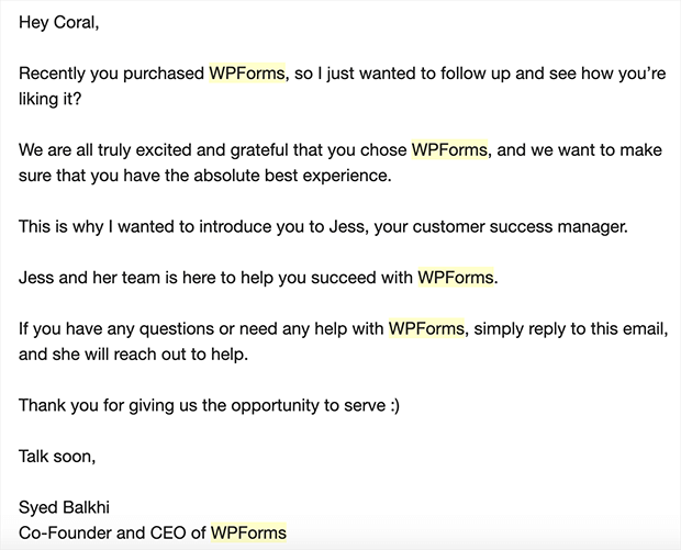 wpforms follow-up email example