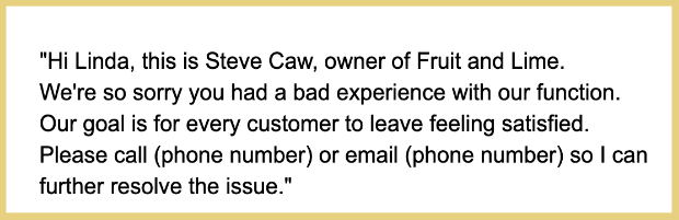 response to negative review contact information