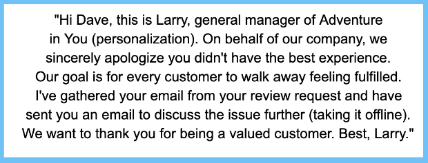 response to negative review take issue offline