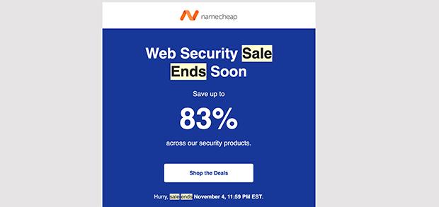 namecheap discount fomo email