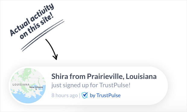 trustpulse social proof notification