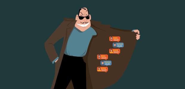 cartoon villain selling fake social proof