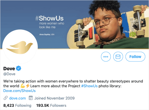 dove twitter description showing brand authenticity in action