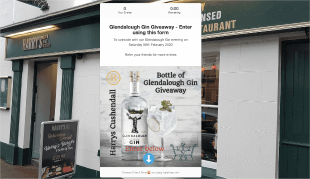 Glendalough Gin Giveaway contest landing page