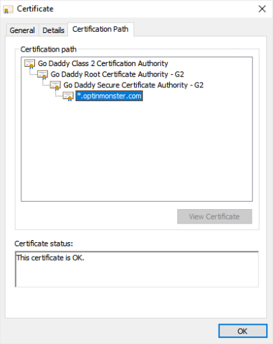 om ssl certificate details