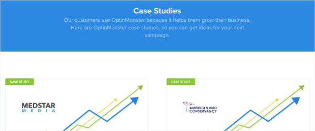 Case study page for OptinMonster