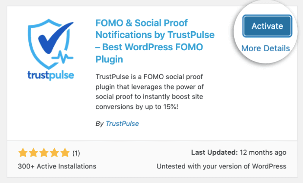 Click-Activate-to-install-TrustPulse-plugin