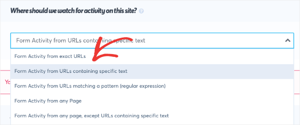 Form Activity from URLs containing specific text