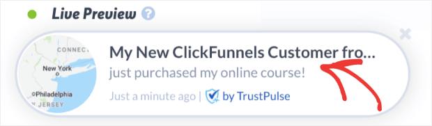 TrustPulse clickfunnels conversion alert