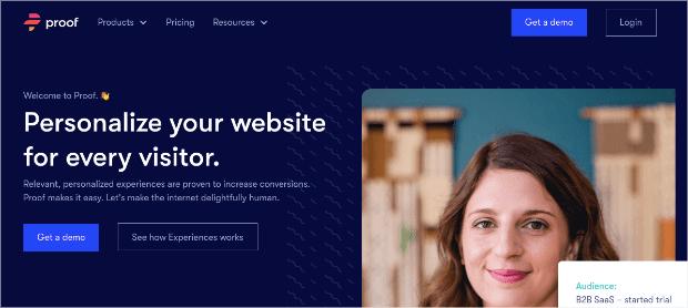 UseProof homepage