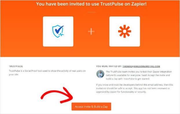 Accept Zapier Trustpulse