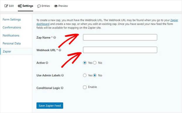 Add webhook Zapier in Gravity Forms_