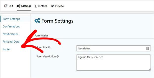 Gravity Forms Zapier in WordPress Form Settings