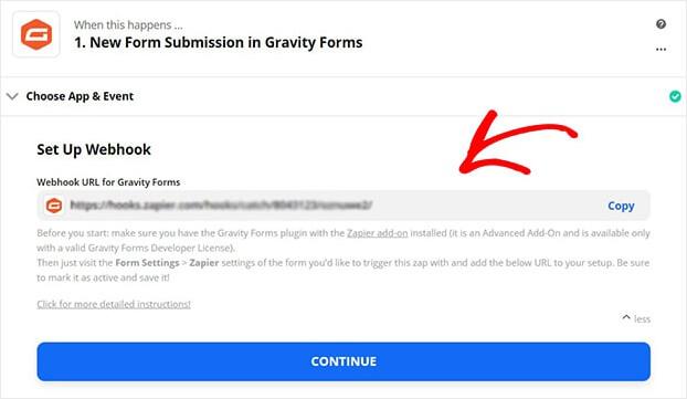 Gravity Zapier webhook