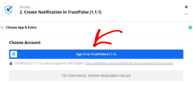Sign into TrustPulse Zapier