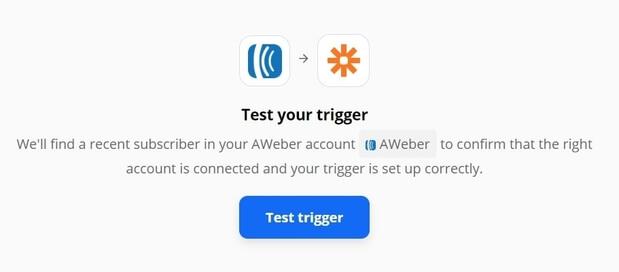 Test Aweber and Zapier trigger