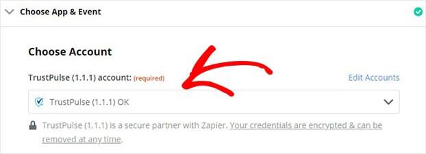 TrustPulse Account Zapier dropdown