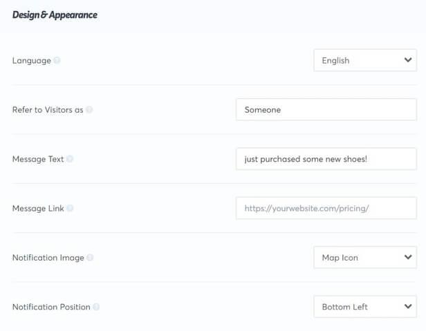 TrustPulse Design Options Screen