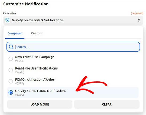 TrustPulse Gravity Forms Campaign in Zapier dropdown