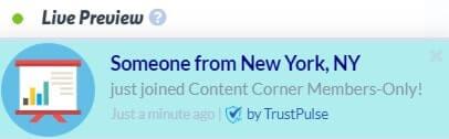 TrustPulse Membership Site Notification