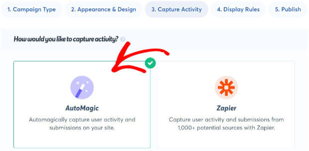 select automagic for capturing activity