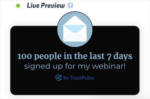 TrustPulse promote your webinar demo on fire campaign