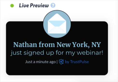 TrustPulse promote your webinar demo recent activity campaign