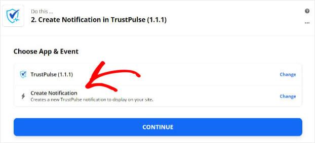 Trustpulse Zapier trigger Create Notification