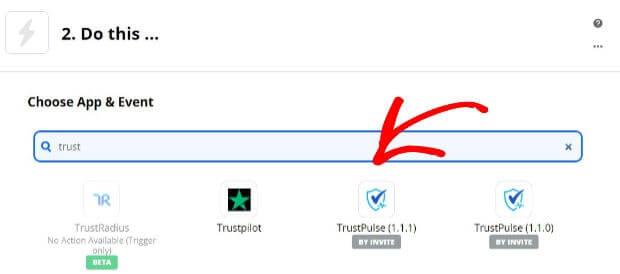 Trustpulse app in Zapier