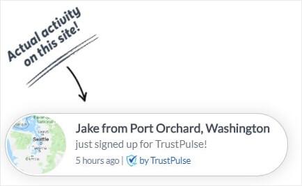 Trustpulse new user notification -min