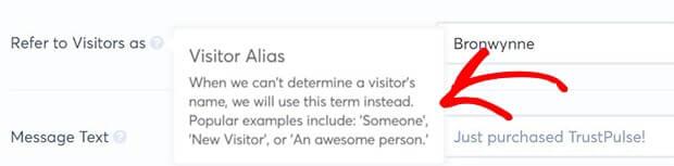 Trustpulse visitor alias-