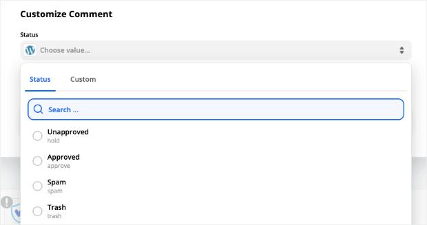 WordPress Comment Status