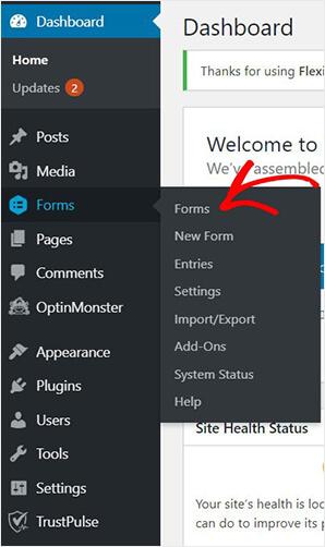 WordPress Gravity Forms dashboard