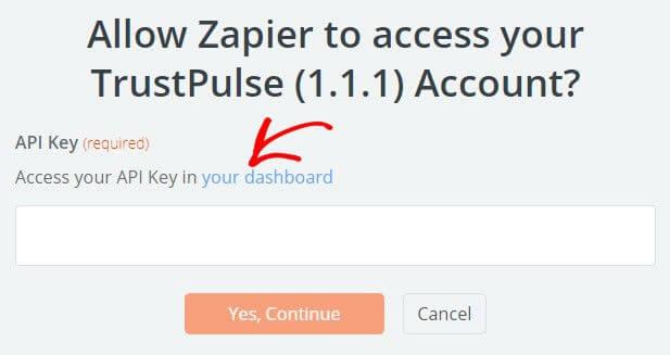 Zapier Trustpulse API key