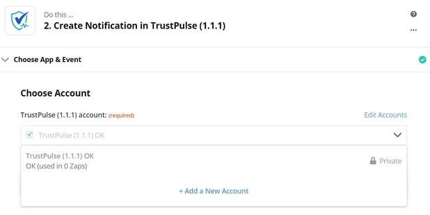 Zapier dropdown TrustPulse