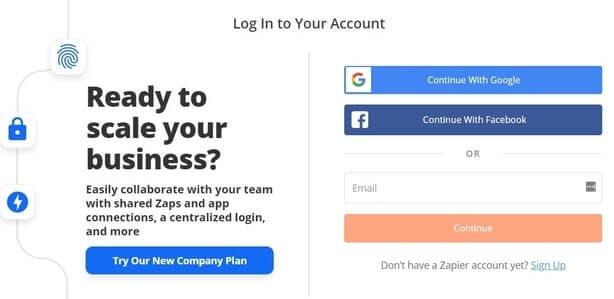 Zapier login page