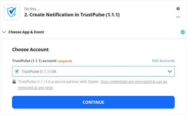 Choose Trustpulse account in Zapier and continue (1)