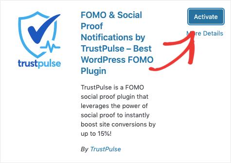 Activate TrustPulse Plugin
