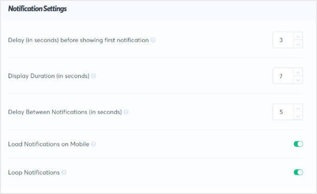 Blogger social proof notifications settings