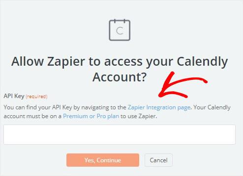 Calendly Zapier API key window