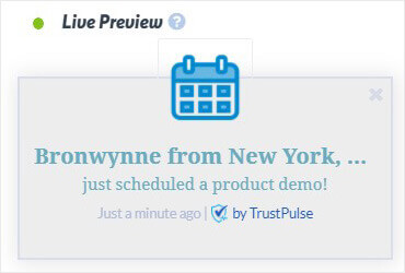 Calendly live notification with in TrustPulse social proof app