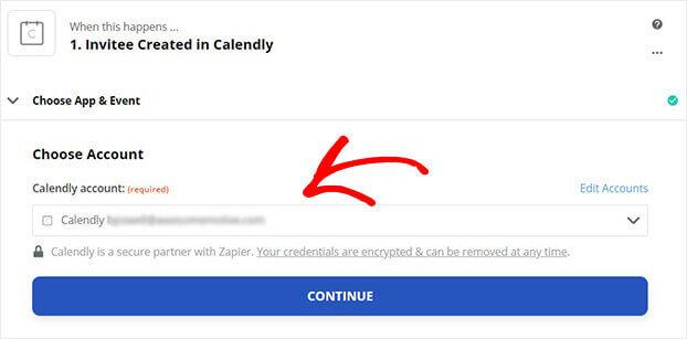 Click Continue Calendly in Zapier