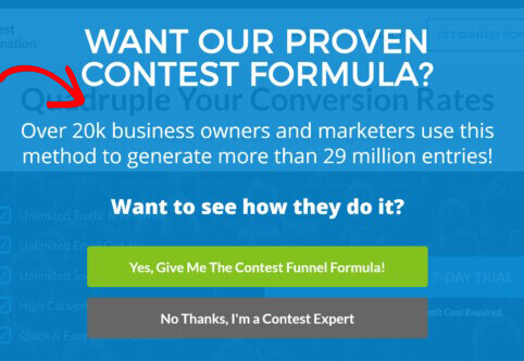 Contest Domination social proof popup
