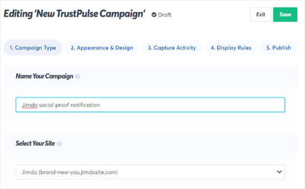 Name Jimdo social proof notification campaign in TrustPulse