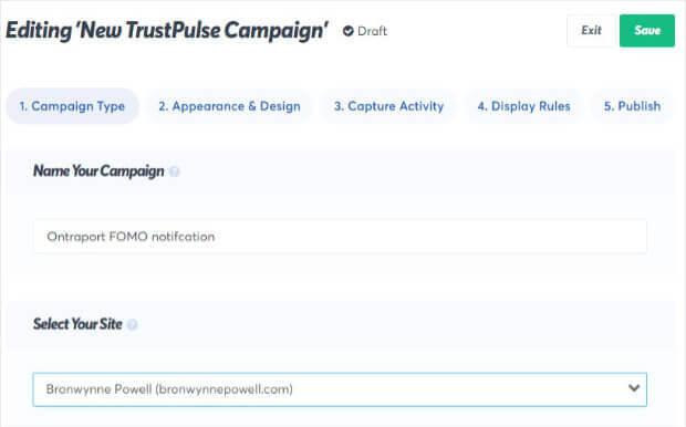 Name Ontraport campaign in TrustPulse