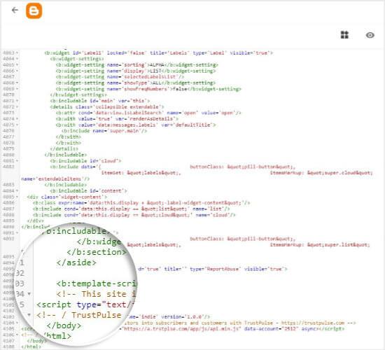 Paste TrustPulse embed code in Blogger