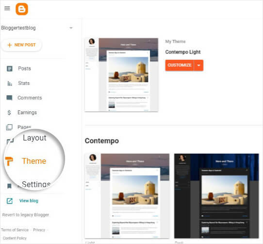 Select Themes in Blogger