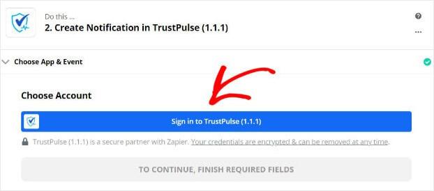Sign into TrustPulse Zapier -min (1)
