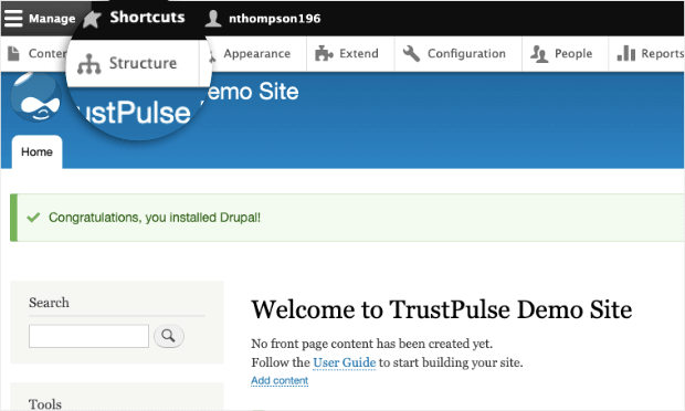 Structure in Drupal Site